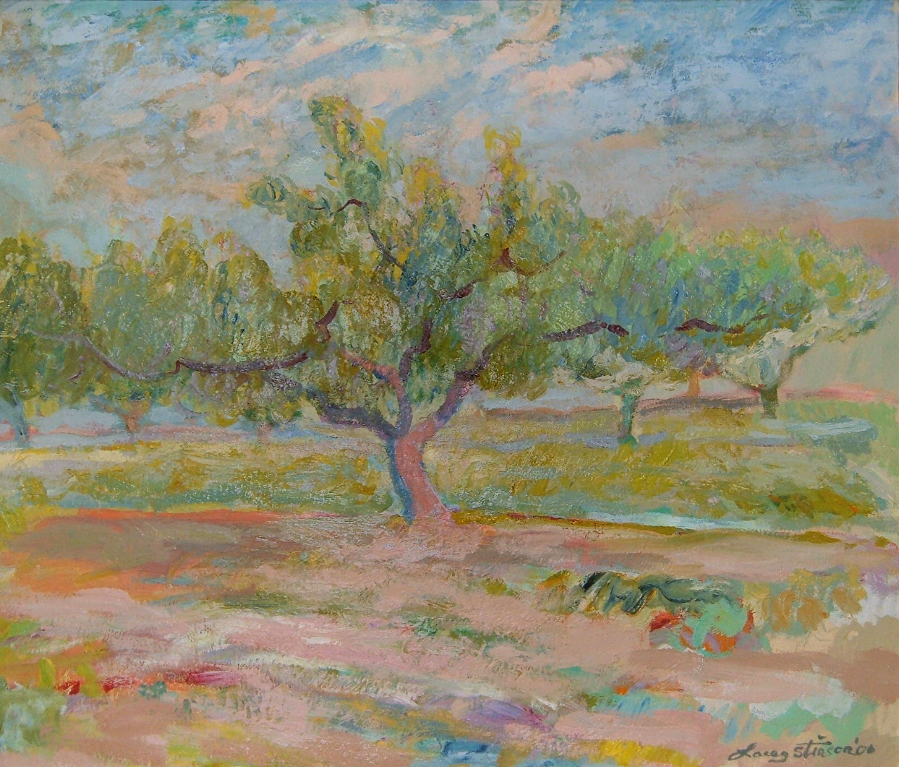 Peach Tree with Clouds