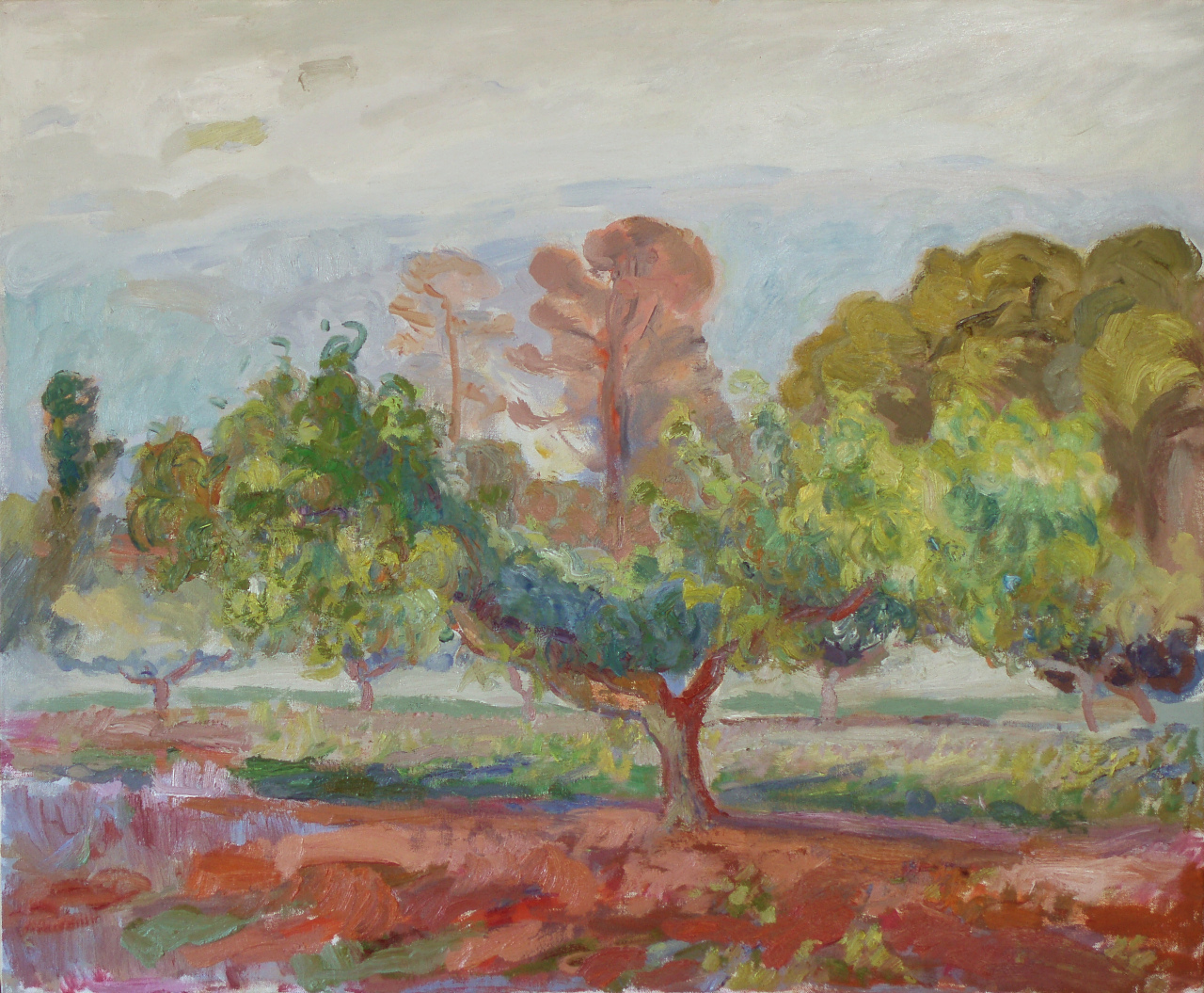 Peach and Pine Trees